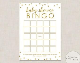Baby Shower Bingo Game - Printable Shower Game, Bingo Cards, Baby Shower, Gold Stars, Baby Bingo, Gold Baby Shower