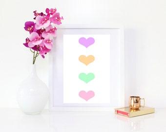 DIGITAL DOWNLOAD, Hearts, colored hearts, heart art