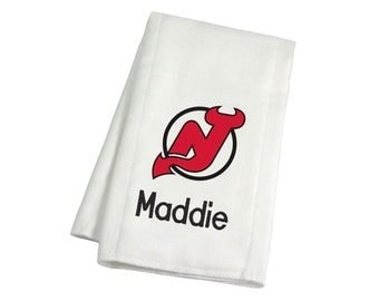Personalized New Jersey Devils Baby Burp Cloth