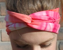 Handmade turban twist headband neon pink and orange, althetic hair accessories, workout, yoga, fitness, woman gift idea, gifts for her, boho