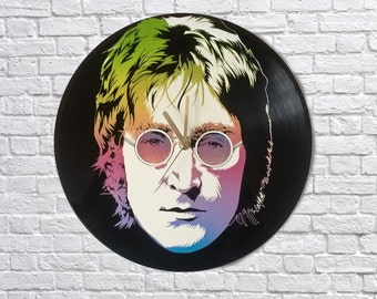 John Lennon painted vinyl record clock, The Beatles