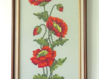 "Vintage Needlepoint of Orange Flowers in Vintage Wooden Frame - 18 1/4"" x 37 1/2"""