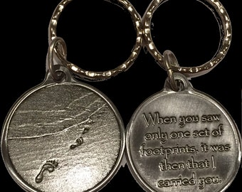 Foot Prints In The Sand Keychain Footprints Key Chain Tag Pewter Color