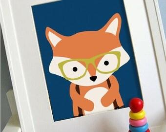 Fox printable 8x10 children's art, Instant Download Printable Animal Nursery Decor, Children's playroom art