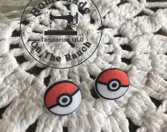 Pokemon. Pokeball earrings. Stud earrings for Pokemon Trainers