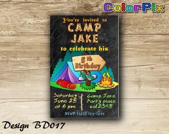 Camping Birthday Invitation, Campout Party Invitation, Printable Camping Invitation, Camp Out Birthday, Chalkboard, Custom, Digital Bd017
