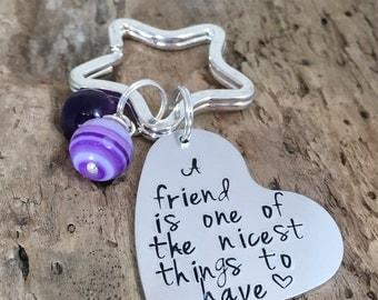 Hand Stamped Personalised Message Metal Keyring Present Friend