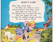Vintage Childrens Illustration, Mary Had A Little Lamb, 1940s, childrens book picture, Digital Print, Instant Digital Download