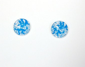 Blue Abstract Design Glass Cabochon Stud Earrings