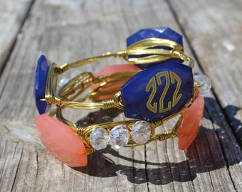 Coral and Navy stacked bangles MONOGRAM