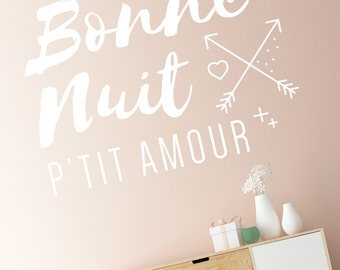 Good night p' little love - wall lettering - Decoration - room child baby - decal, love, child, baby, newborn, maternity
