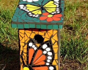 """Nest box wooden mosaic """"butterflies"""""""