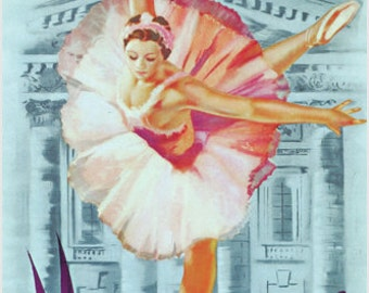 Visit USSR Moscow Vintage Poster Russia-soviet Union 24x36 Graceful Ballet
