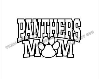 Panthers Mom with Paw Download Files - SVG, DXF, EPS, Silhouette Studio, Vinyl Cut Files, Digital Cut Files -Use with Cricut and Silhouette
