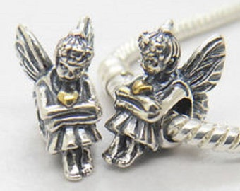 S925 Sterling Silver Pixie Angel with Gold Hearts Charm Bead..FREE Shipping in USA