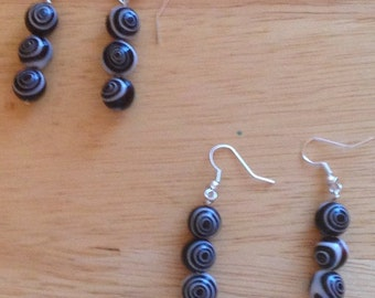 Black and White Concentric Cirlces Earrings