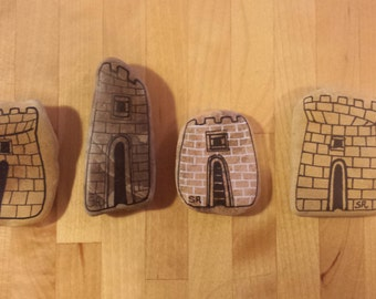 My painted stones: 4 towers