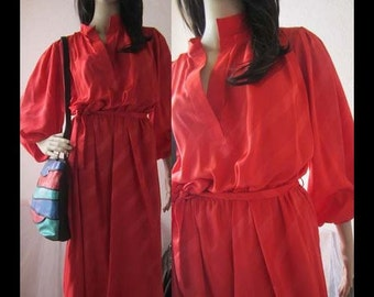 Vintage 80s dress dress Verena red robe M/L