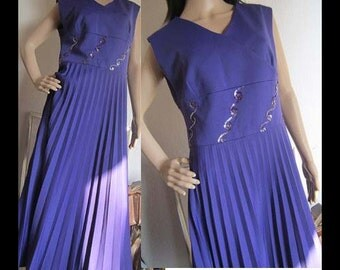 Vintage70s dress robe gown evening gown Maxi dress Empire pleated M