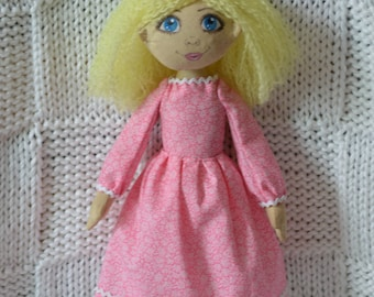 Blond Hair Doll in pink dress very lovely, Handmade fabric doll, Cloth Doll,  Decorative Doll, Art Doll, Rag Doll, Room Decoration, Gift