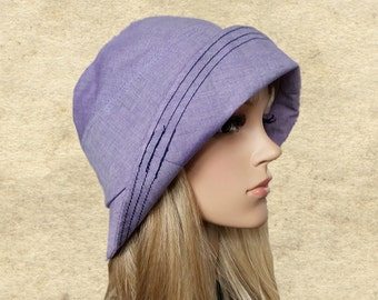 Sun cloche hats, Womens summer hats, Lilac cotton hats, Suns hats womens, Small brim sun hat, Sun hats for lady, Organic fabric hats