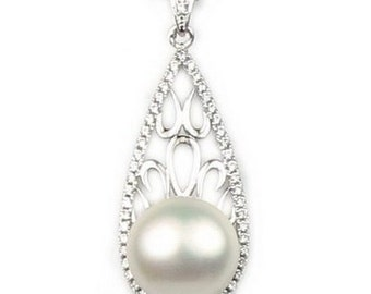White pearl pendant, freshwater pearl 925 sterling silver pendant, real pearl necklace, pearls pendant necklace, 11-12mm, F2850-WP