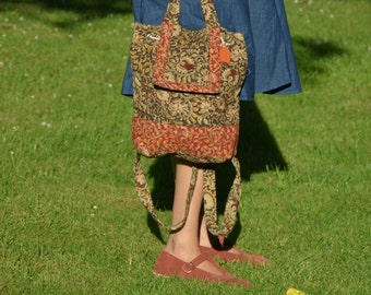 Handmade Quilted Bag, Gift Bag, Kalamkari print bag, Textile print, Backpack, Shoulder bag, rucksack, small travel bag, quilted bag