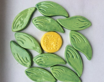 11 Ceramic Leaf Tiles Can Be Used For Mosaic And Other Mixed Media Projects