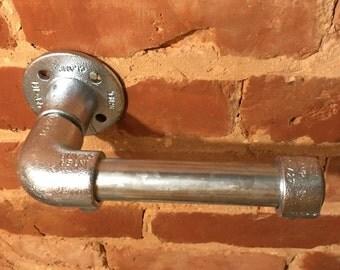 Toilet paper holder - Industrial, galvanised, steel, metal pipe, loo roll stand, bathroom decor