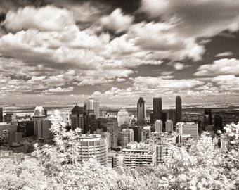 Infrared Montreal Skyline, as seen from the Mount Royal lookout.