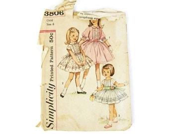 3806 Simplicity, vintage sewing pattern, girls dress sewing pattern, retro sewing pattern, size 6 flower girl