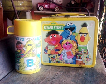 Sesame Street Retro Metal Lunchbox with Thermos |  Vintage Metal Sesame Street Lunchbox Big Bird Oscar the Grouch Cookie Monster
