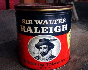Sir Walter Raleigh Smoking Tobacco Can |  Smoking Tobacco 14 oz Tin with Lid