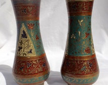 2 Brass vase India etched exc condition great paint colors and patterns