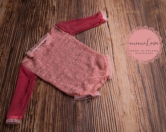 Lace romper Photoprops-dirty pink
