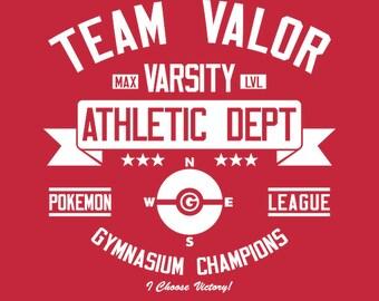 Team Valor Athletics Dept. - Pokemon GO Men's Unisex T-Shirt - AR Pokemon Gaming Parody Clothing