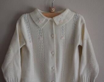 Vintage 60s Cream Button Cardigan by Friemanit, Size 2T - Vintage Kids Clothes - Vintage Kids Sweater - Vintage Toddler Clothing