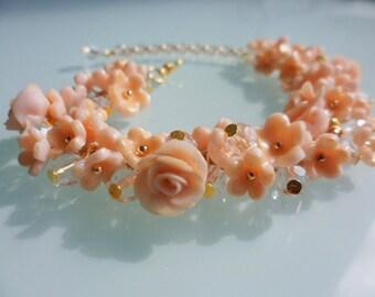 Romantic Floral bracelet, Nude Bracelet, Polymer clay, fimo, Spring jewelry, flowers jewelry