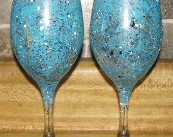 4 Aqua with white, gold, and black flecks  Wine Glasses