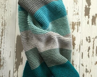 Sweet Soft Hand Knit Baby Blanket Blues Greens Grays