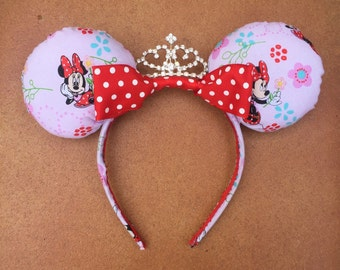 Pink and Red Polka Dot Flower Princess Tiara Disney Minnie Mouse Ears (Adult/Kid/Toddler Sizes)