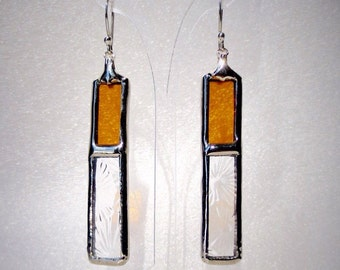 Stained glass yellow earrings