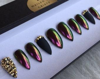 hnliche artikel wie matt schwarze n gel mit gold glitter leopard animal print akzent gef lschte. Black Bedroom Furniture Sets. Home Design Ideas