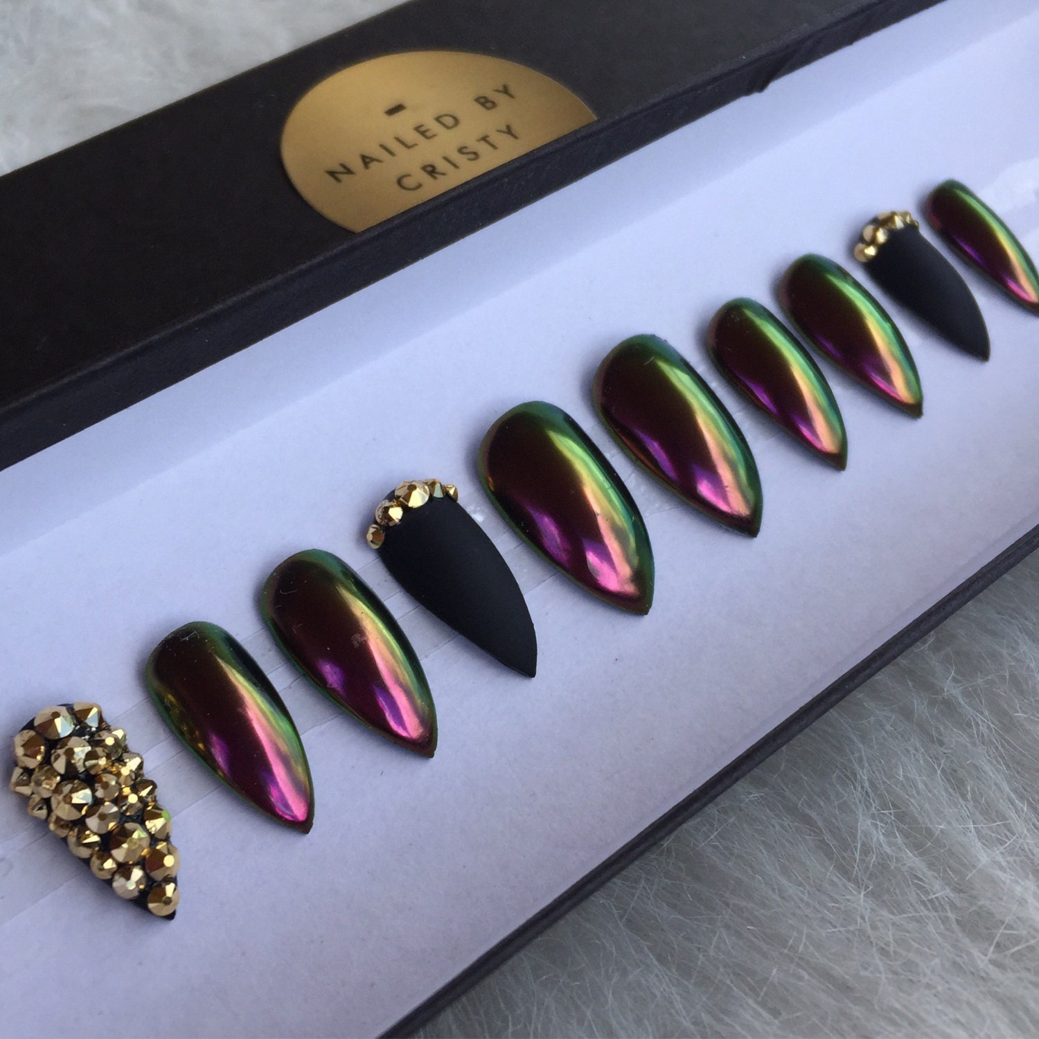 Crystal Chrome Nails: Duo Chrome And Matte Black Press On Nails Gold By