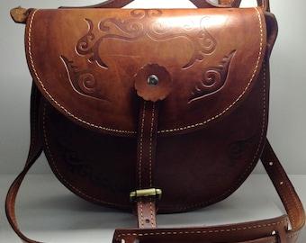 Handbag, shoulder bag, broun leather bag