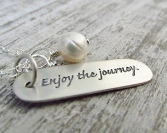 Graduation Gift, Inspirational Necklace, Going Away Gift, Enjoy The Journey Necklace, New Direction, New Beginning Necklace, Retirement Gift