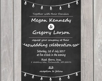 Chalk Wedding Invitation and Save our Date- Printable- Wedding Suite, Save the Date, RSVP card-- Rustic Wedding Invitation- Chalkboard
