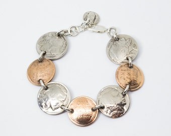 Bracelet Handmade from Vintage Buffalo Nickels and Wheat Pennies (Heads & Tails) with Solid Sterling Silver Findings