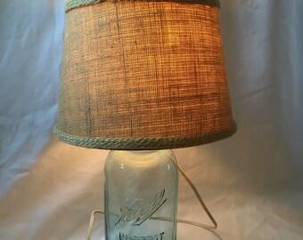 Blue Ball Mason Jar table Lamp - Shabby chic/ fixer upper