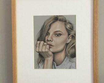 Original coloured pencil artwork woman